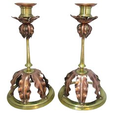 English Pair Of Copper & Brass Candle Sticks Antique c.1890.