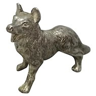 English Silver Plated Dog Vintage 20th Century.