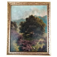 Oil Landscape Painting On Canvas In A Gilt Frame Vintage 20th Century.