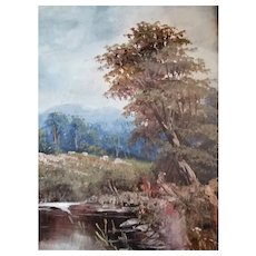 Oil Painting Landscape In Gilded Frame Vintage 20th Century.