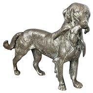 English Silver Plate Gun Dog Vintage 20th Century.
