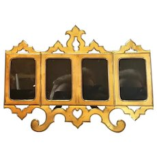 English Brass Four Section Photo Frame Antique c.1880.