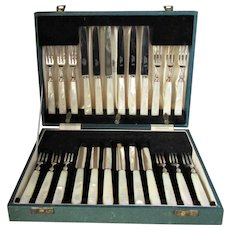English Box Set Of Fruit Knifes & Forks By Asprey Vintage 20th Century.