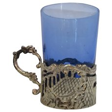 Blue Glass Toddy Glass With White Metal Stand Vintage 20th Century.