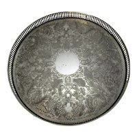 English Silver Plated Circular Gallery Tray Vintage 20th Century.