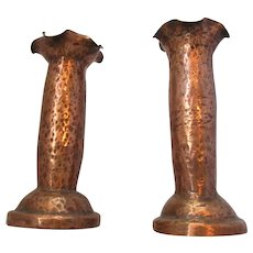 Pair Of Copper Vases Antique c1890.