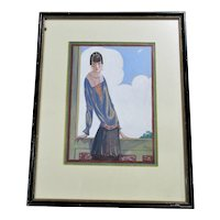 English Gouache Portrait Of A Society Lady Vintage c.1920.