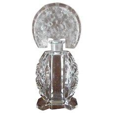 Cut & Moulded Glass Scent Bottle Vintage Art Deco c1930s.