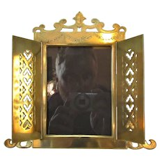 Brass Two Door Photo Frame Antique Gothic Revival.