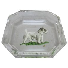 Glass Trinket Dish With Dog Decoration Vintage 20th Century.