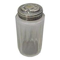 English Silver Top Cut Glass Jar Antique c.1908.