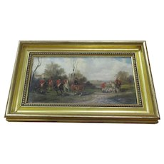 English Oil On Board Depicting Horse And Hounds Vintage 20th Century.