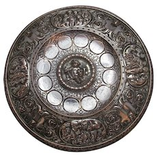 English Aesthetic Silver Plate On Copper Dish Antique c.1880.