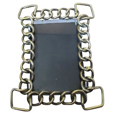 Brass Small Ring Rectangle Photo Frame Antique Victorian.