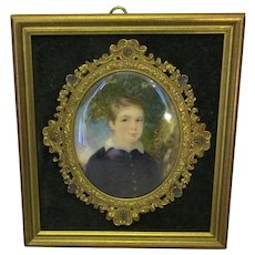 Oil Painting Portrait Miniature Of Young Gentleman Antique c.1900.