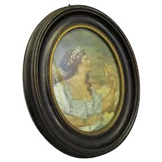 Mixed Media Embroidery Of Lady With A Golden Bird In Oval Frame Antique c.1900.