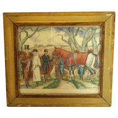 Framed Pen & Ink Sketch 'Getting ready for the hunt' by M. Taquoy Antique c1920.