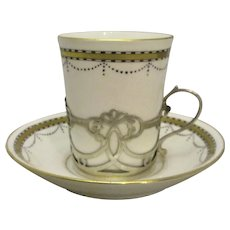Porcelain Paragon Cup & Saucer With Sterling Silver Holder Antique Sheffield 1919.