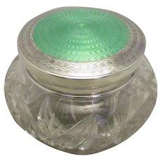 Sterling Silver, Crystal Glass & Enamel Trinket Vintage 1930.