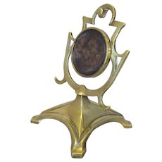 Brass Pocket Watch Stand Antique Art Nouveau c1900.