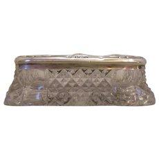 Silver Topped Cut Glass Trinket Box Antique c1910.
