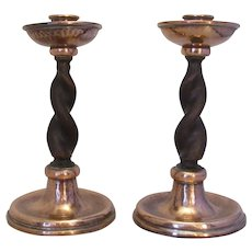 Copper And Barley Pair Of Candlesticks By A.E.Jones Vintage 20th Century.