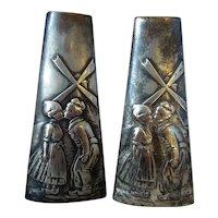 Pair Antique WMF Pewter Slip Vases c1900.