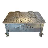 Arts & Crafts Handmade Aluminium Trinket Box Antique c1900.