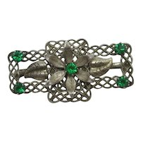Emerald Paste Filigree Flower Brooch Pin Antique Edwardian c1910.