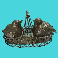 Birds in a Basket Salt & Pepper Pots Tableware Silver Plate Vintage c1950.