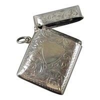 Sterling Silver Vesta Case Birmingham Antique c1902