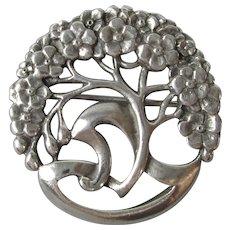 Sterling Silver Tree Brooch Antique Art Nouveau c1910