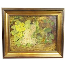 Oil on Canvas Bird Nest With Primroses Antique 19th Century