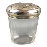 Sterling Silver Top Glass Jar Mappin & Webb Art Nouveau Antique 1904