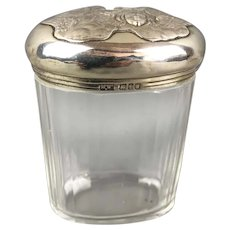 Sterling Silver Top Glass Jar Mappin & Webb Art Nouveau Antique 1904