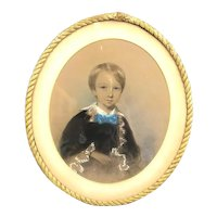 Framed Pastel Drawing Of Boy Victorian Antique c1900