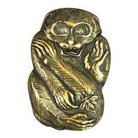 Brass Monkey Vesta Case Antique c1900