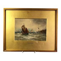 Framed Watercolour Painting of Boats at Sea Antique 1894