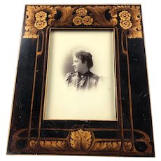 Arts And Crafts Penwork Easel Photo Frame Antique c1880