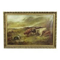 Large Oil on Canvas Highland Cattle by JD Morris Antique Late 19th Century
