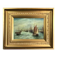 Oil On Canvas Sailing Boats By Bernard Benedict Henry Antique C1900