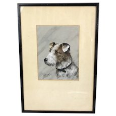 Pastel On Paper Of Wire Haired Terrier By L W Fraser Scottish Antique C1910
