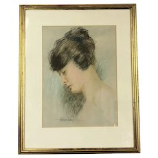 Pastel On Paper Portrait Of Young Lady By Bertram Prance British Vintage C1930