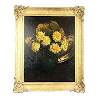 Oil On Board Chrysanthemums In Vase McLellan C1960