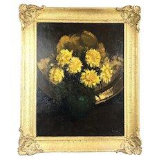 Oil On Board Chrysanthemums In Vase McLellan C1960