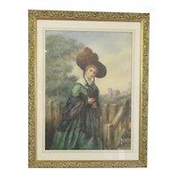 Larger Watercolour Portrait of a Lady English School Antique 19th Century