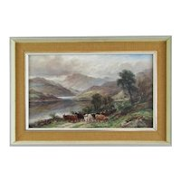 Oil on Canvas Highland Cattle Scottish Landscape Lewis Antique c1910
