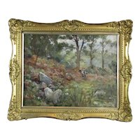 Oil on Board Woodland Painting George Hall-Neale British Antique c1910