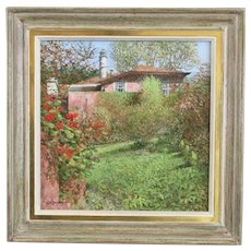 Oil on Board Painting House and Garden Keith Dunkling Vintage c1991