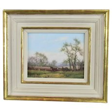 Oil on Board Painting Harvest Time by James Wright Vintage